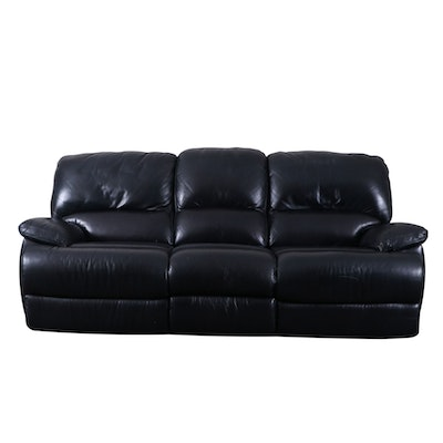 Flexsteel Navy Bonded Leather Three-Seat Reclining Sofa
