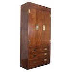 Henredon Scene One Campaign Style Fitted Cabinet, Late 20th Century