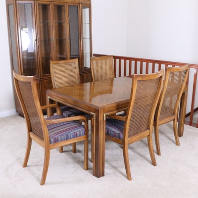 "Drexel-Heritage ""Accolade"" Campaign Style Dining Table and Caned Chairs, c. 1980"