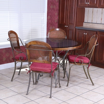 Drexel-Heritage Iron, Oak and Carrara Marble Dining Table and Caned Chairs Set