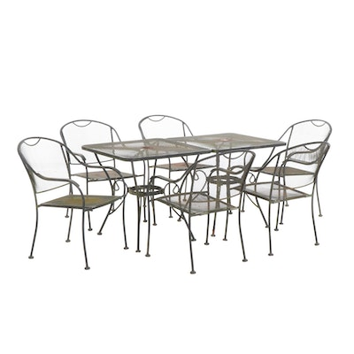 Pair of Wrought Iron Patio Tables with Six Chairs, Mid-20th Century
