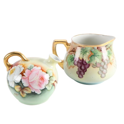 William Guerin & Co. Gilt Limoges Porcelain Pitcher with Other Jug