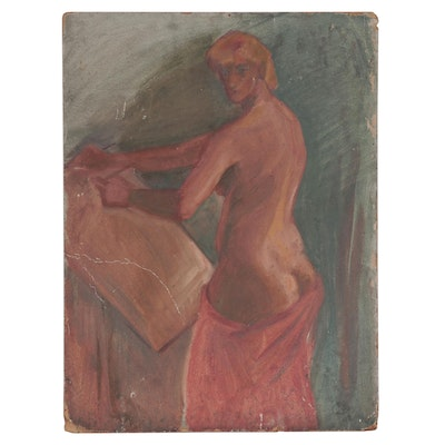 Female Nude Oil Painting, Early 20th Century