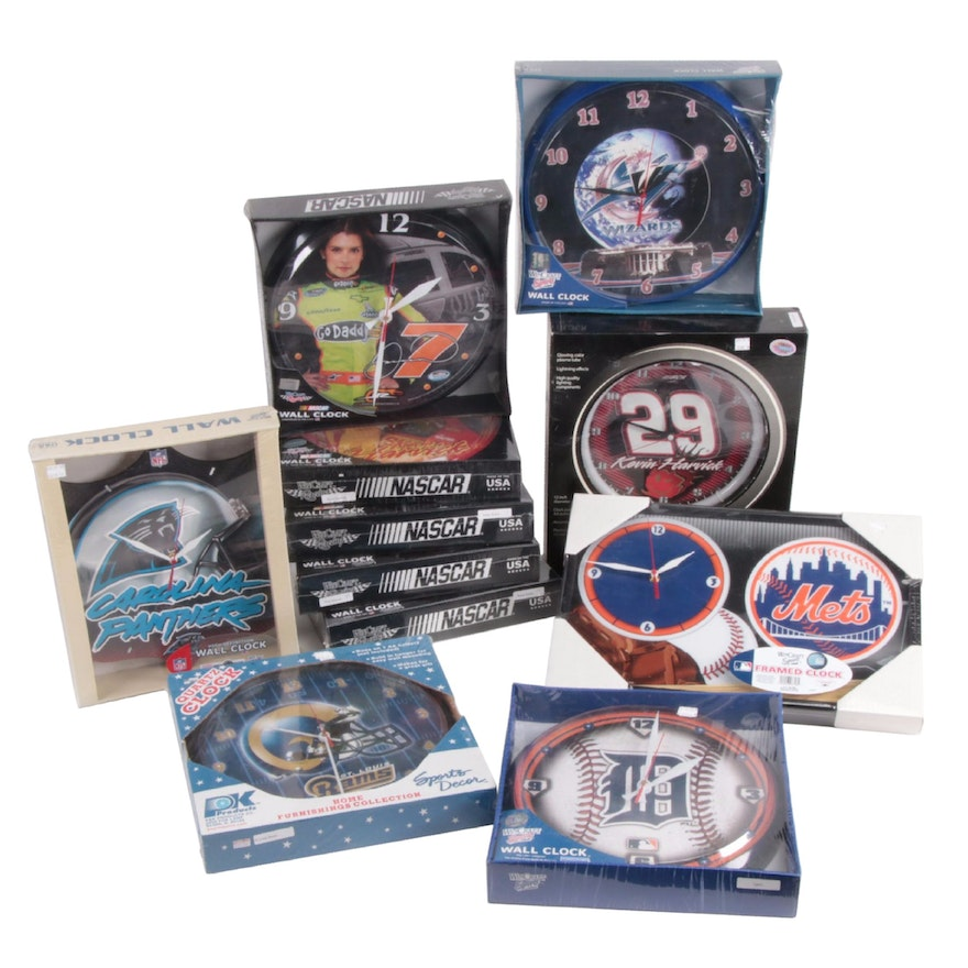 Nascar, NFL, NBA and MLB Wall Clocks