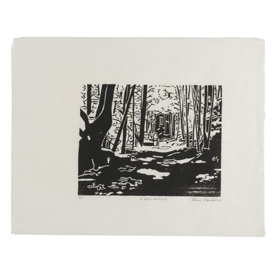 "Thomas Norulak Woodcut ""A Walk in the Woods,"" 2013"