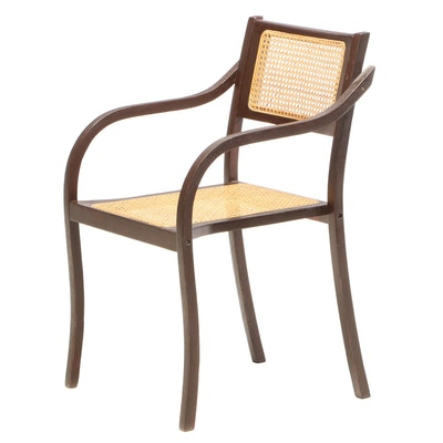 Cane Upholstered Armchair
