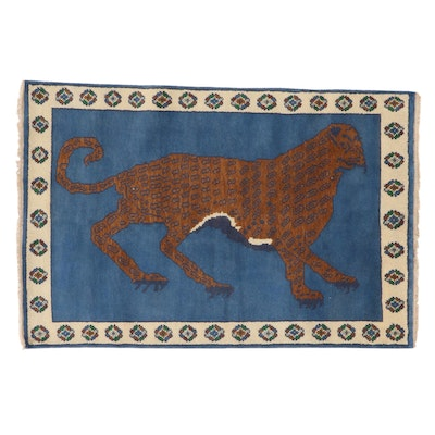 4' x 6'2 Hand-Knotted Turkish Pictorial Hunting Area Rug