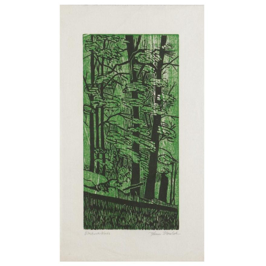 "Thomas Norulak Woodcut ""Blackwater Woods,"" 1994"