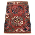 2'2 x 3'3 Hand-Knotted Afghan Turkmen Rug, 2010s