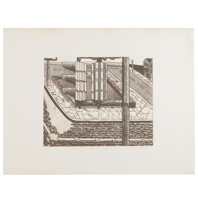 "Thomas Norulak Aquatint Etching ""Bicentennial Traffic Light I,"" 1976"