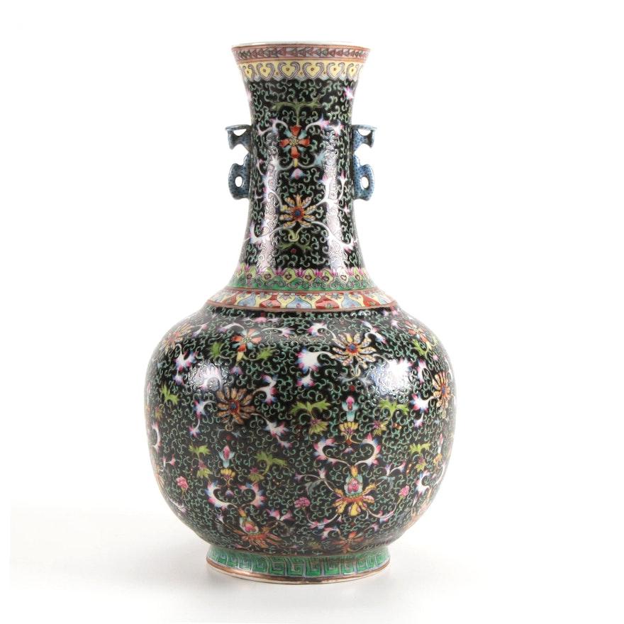 Chinese Famille Noire Porcelain Vase