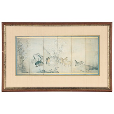 Offset Lithograph of Chinese Horse Scene