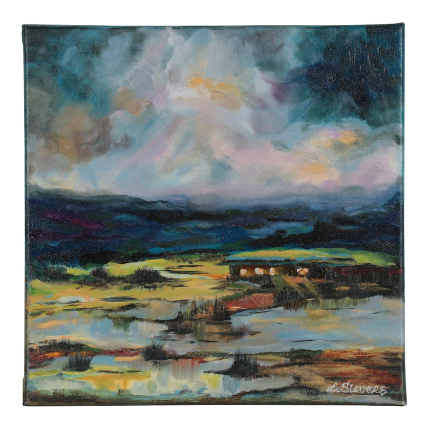 "Larissa Sievers Oil Painting ""Landscape with Sunset,"" 2021"