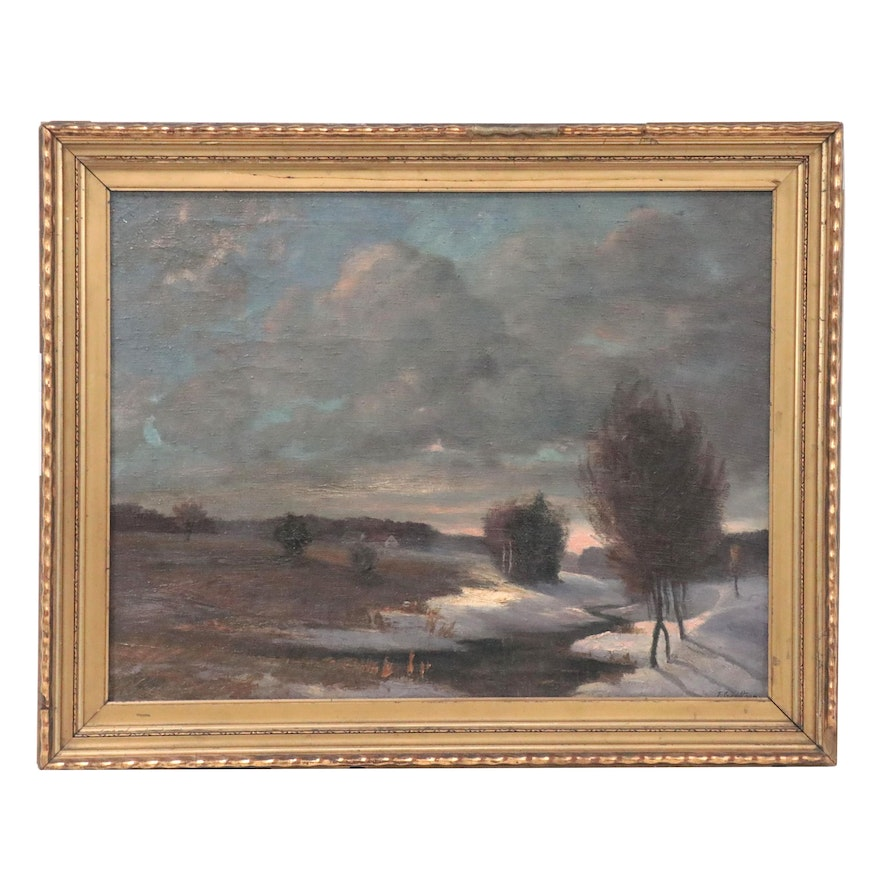 Tonalist Style Landscape Oil Painting of Cloudy Winter Scene, Early 20th Century
