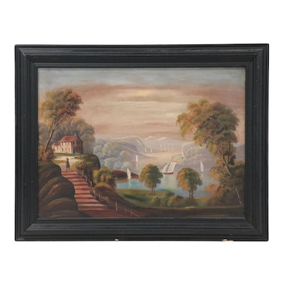 American School Folk Art Landscape Oil Painting, Mid-19th Century