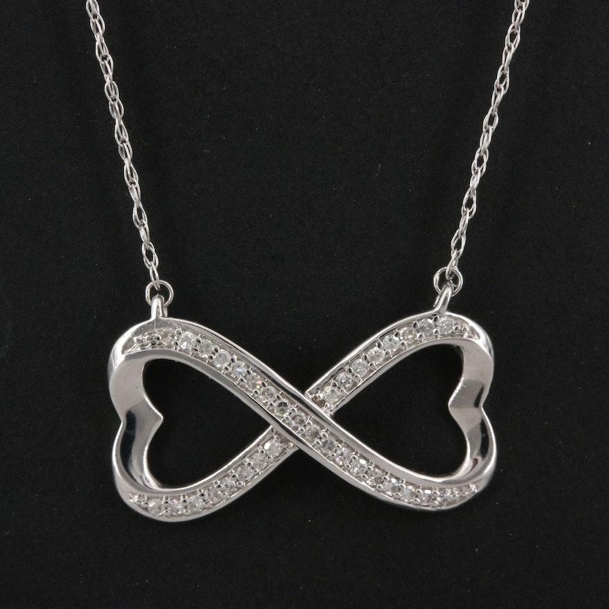 14K Diamond Infinity Heart Necklace