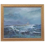 Seascape Oil Painting of Sailboat on the Ocean, 1987