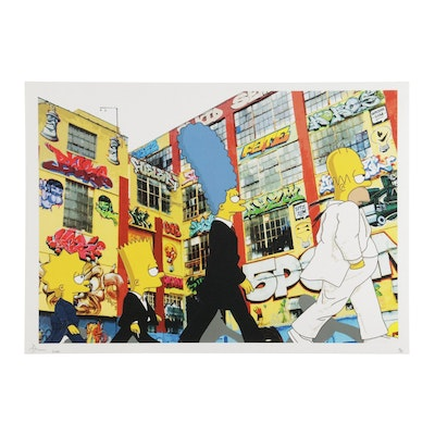 "Death NYC Pop Art Graphic Print of ""The Simpsons"" as The Beatles, 2020"