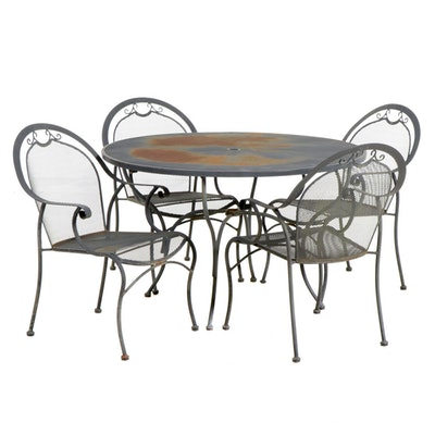 Wrought Iron Patio Dining Table and Four Chairs, Mid-20th Century