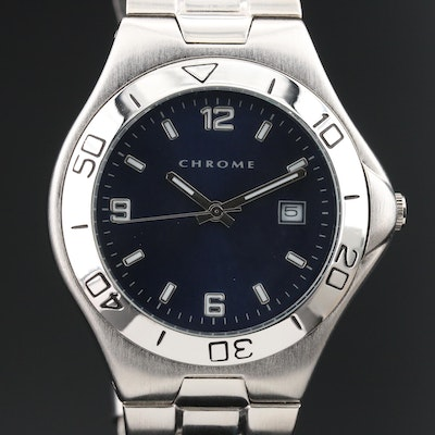 Chrome Quartz Wristwatch with Date Window