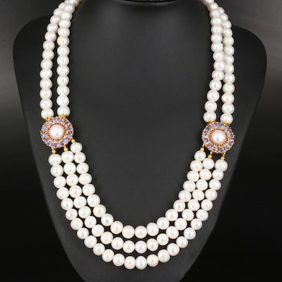 Sterling Pearl and Tanzanite Festoon Necklace
