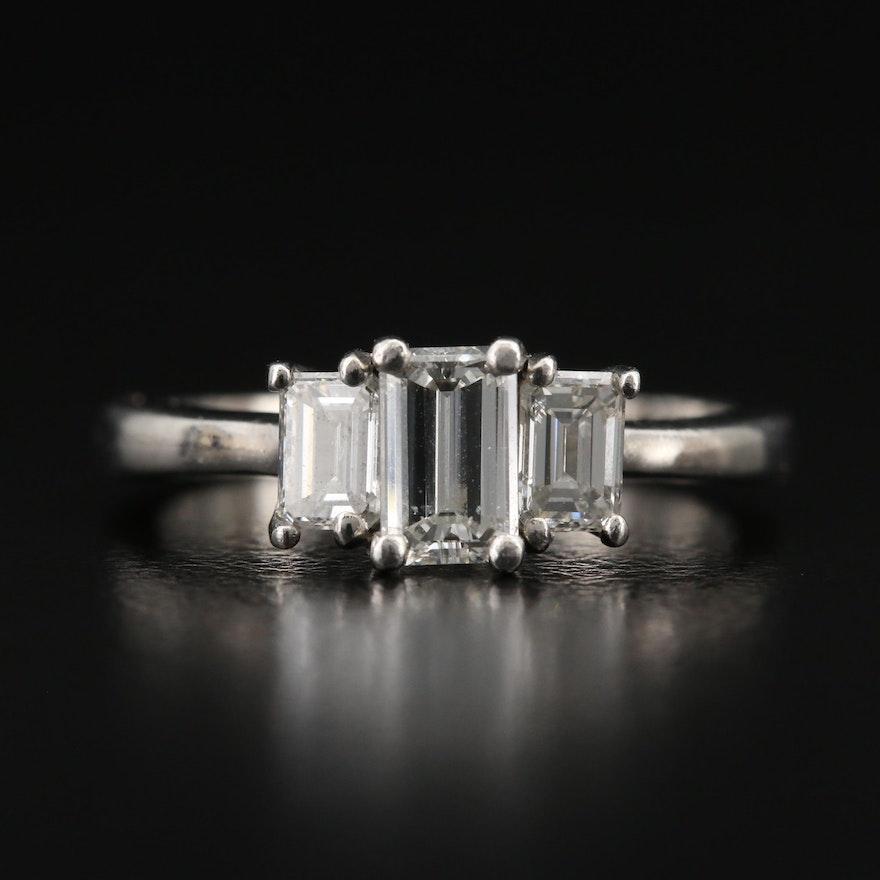Platinum 1.14 CTW Diamond Three Stone Ring