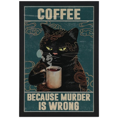 Contemporary Giclée of Cat Drinking Coffee, 21st Century