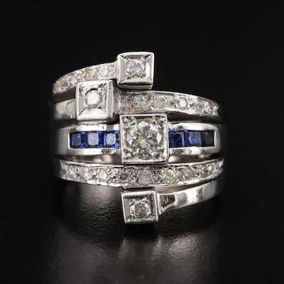 Contemporary 14K Diamond and Sapphire Multi-Row Ring