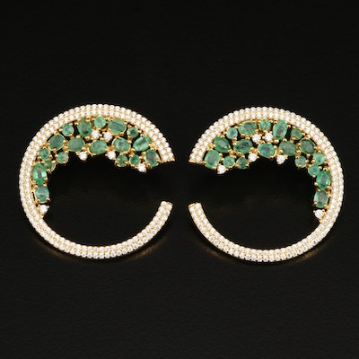 Sterling Emerald and Cubic Zirconia Cluster Side Hoop Earrings