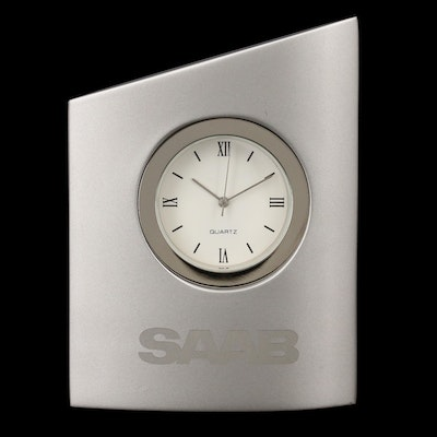 Saab Quartz Desk Clock with Case