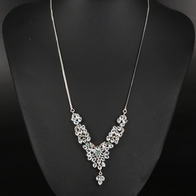 Sterling Aquamarine, Emerald and Sapphire Floral Cluster Necklace with Drop