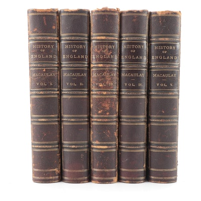 """The History of England"" Five-Volume Set by Thomas B. Macaulay, c. 1884"