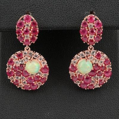 Sterling Corundum and Gemstone Cluster Earrings