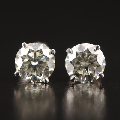 18K 1.43 CTW Diamond Stud Earrings with GIA Online Report