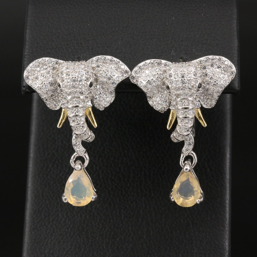 Sterling Cubic Zirconia Elephant Earrings with Drops