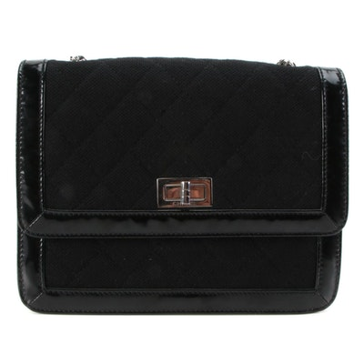Chanel Mademoiselle Black Quilted Textile and Patent Leather Front Flap Bag