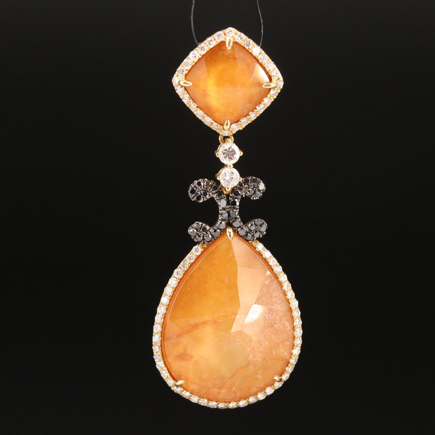 18K Quart and Mother of Pearl Doublet and 1.00 CTW Diamond Pendant