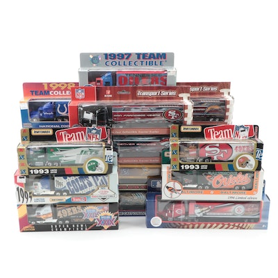 Upper Deck, Matchbox and More NFL Diecast Tractor Trailers, Late 20th Century