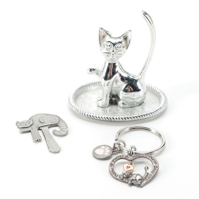 G.F. Jackson Pewter Bookmark with Cat Form Ring Dish with Keychain