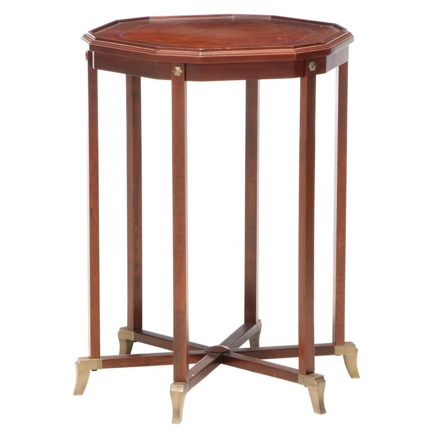 Bombay Company Mahogany and Brass Six-Leg End Table