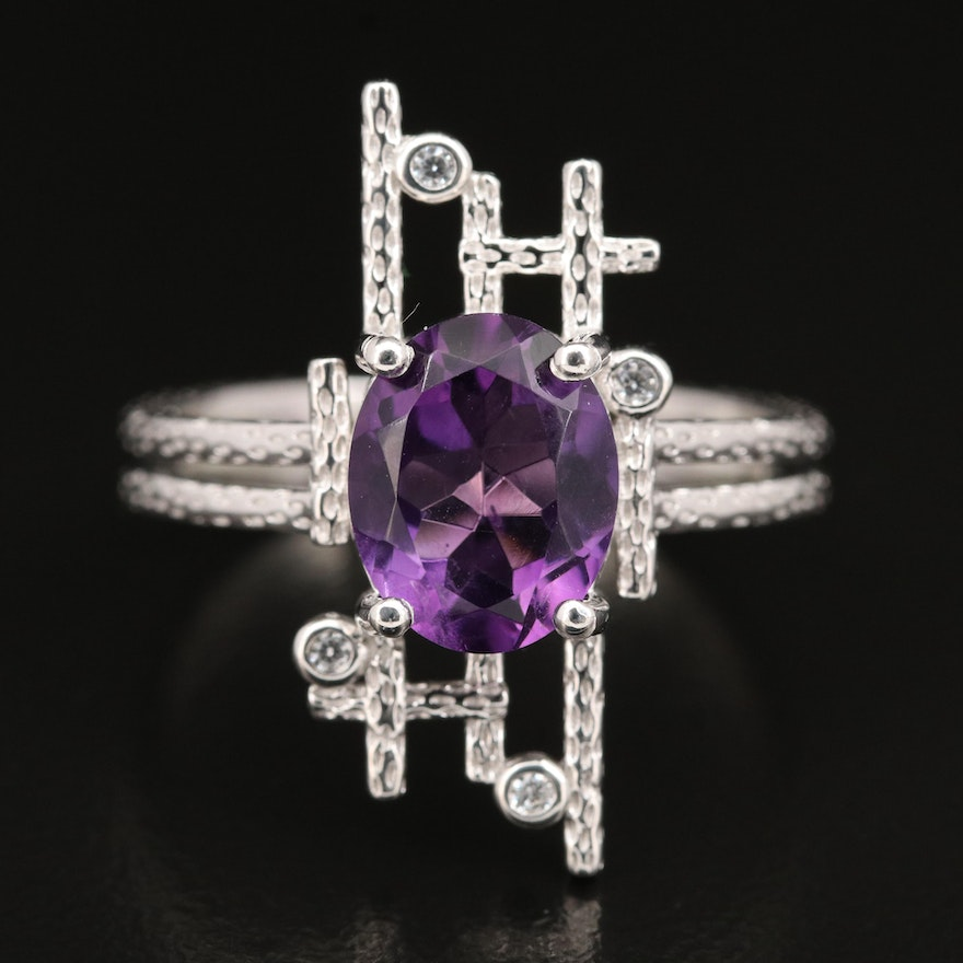 Brutalist Inspired Sterling Amethyst and Cubic Zirconia