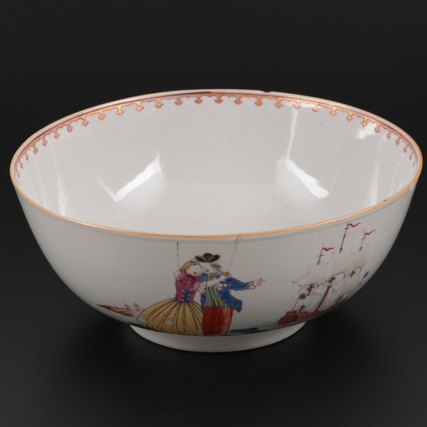 Chinese Export Sailor's Farewell and Return Punch Bowl,  Late 18th Century