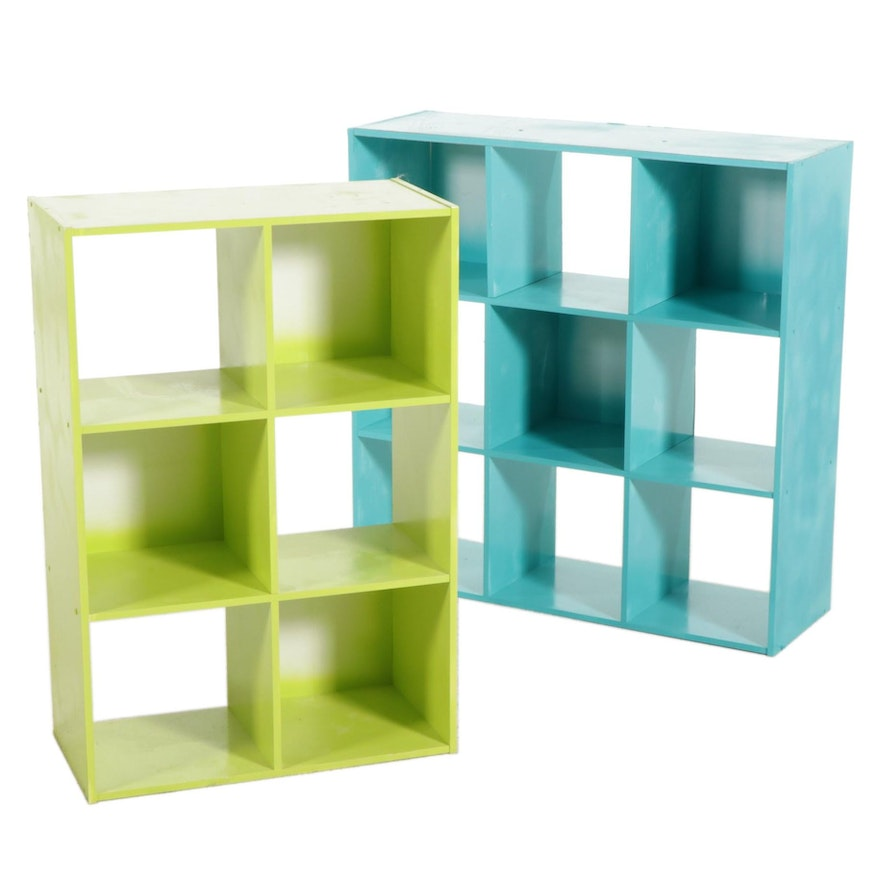 Two Custom Painted Modern Shelving Units