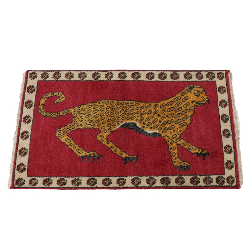 2'11 x 5'1 Hand-Knotted Turkish Pictorial Hunting Accent Rug