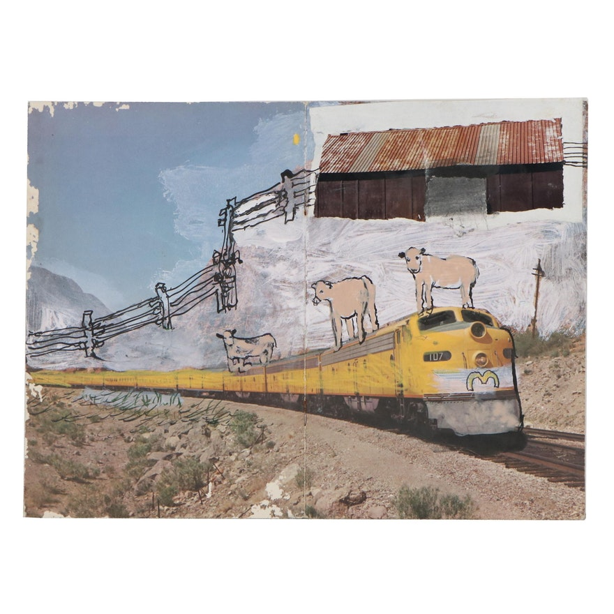 "Clint Griffin Mixed Media Painting ""American Railroad,"" 2002"