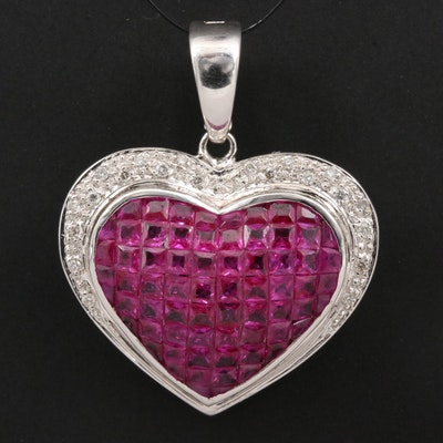 14K Invisible Set Ruby and Diamond Heart Enhancer Pendant