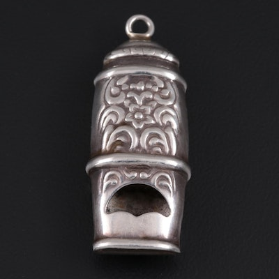 Sterling Silver Whistle Pendant with Scroll Detail