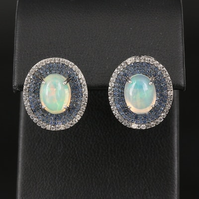 Sterling Opal and Pavé Sapphire Halo Earrings