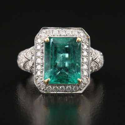 18K 4.91 CT Emerald and 1.37 CTW Pavé Diamond Ring