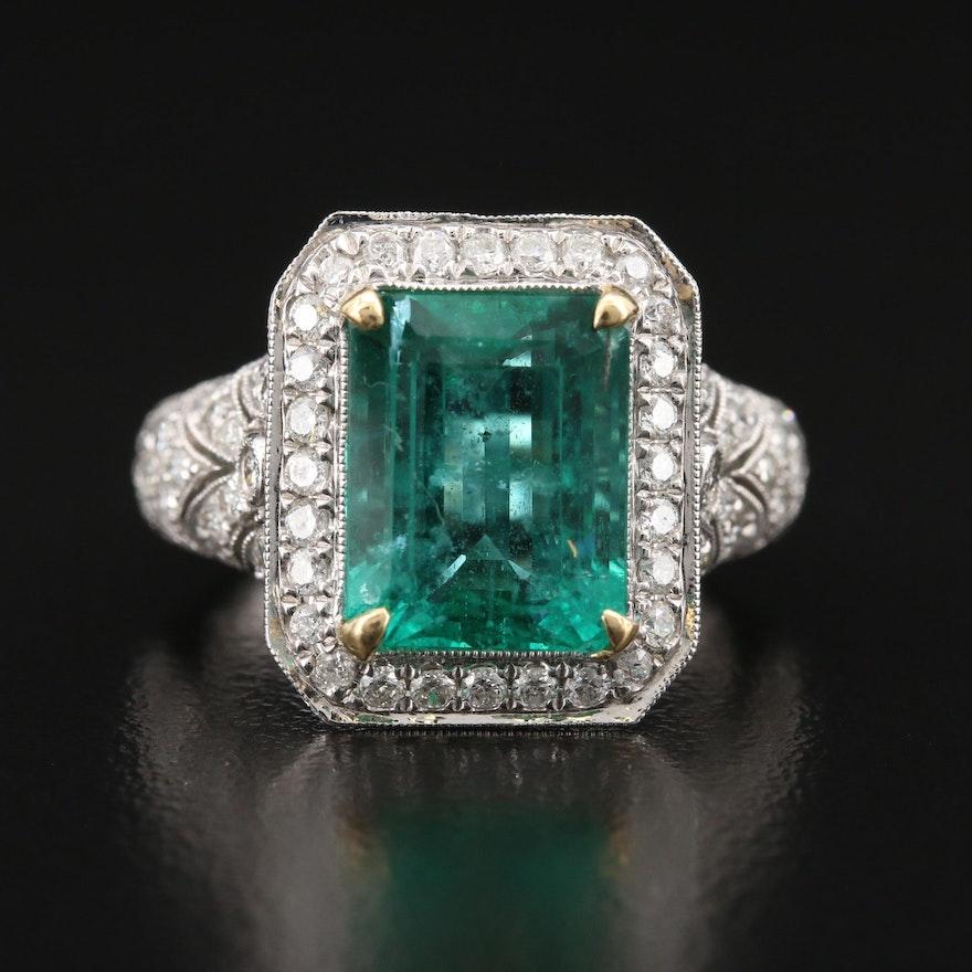 18K 4.91 CT Emerald and 1.37 CTW Pavé Diamond Ring